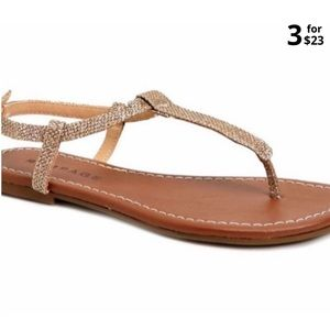 Rampage | Gold Glitter Thong Sandals
